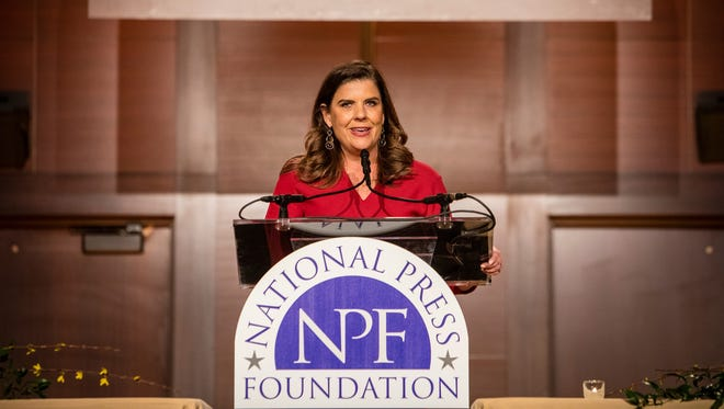 Nicole Carroll speaks after receiving the Benjamin C. Bradlee Editor of the Year award during the National Press Foundation awards dinner in Washington, D.C., on Feb. 15, 2018.