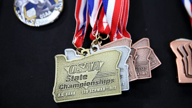 OSAA Wrestling State Championships at Veterans Memorial Coliseum in Portland on Saturday, Feb. 17, 2018.