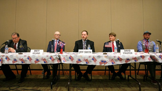 Republican gubernatorial candidates answer questions at a debate hosted by Oregon Women for Trump on Saturday, March 24, 2018, at the Keizer Community Center.