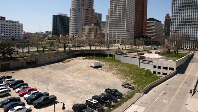 The former site of the Ford Auditorium used as a parking lot next to Hart Plaza in downtown Detroit on Tuesday, May 1, 2018.