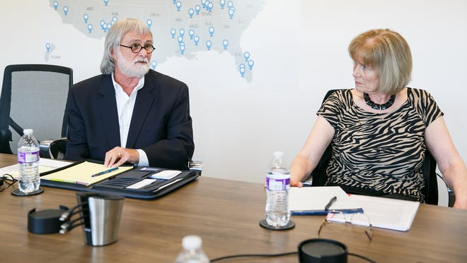 Jim Lewis, left, and Micki Varney, right, at a meeting with the Statesman Journal editorial board on Monday, April 30, 2018.