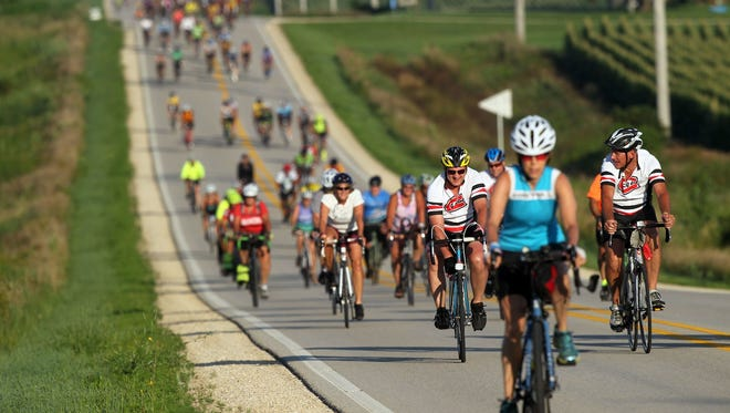 This summer?s RAGBRAI route should be fairly easy compared to past rides.   Iowa City Press-Citizen file photo RAGBRAI riders head to Decorah from Cresco on Friday, July 28, 2017.