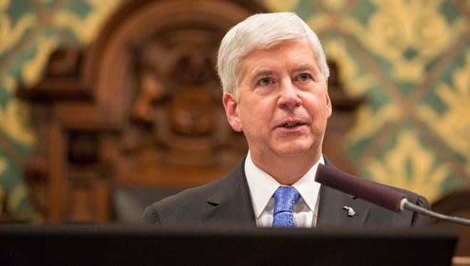 Gov. Rick Snyder delivers his State of the State in Lansing on Tuesday, January 23, 2018.