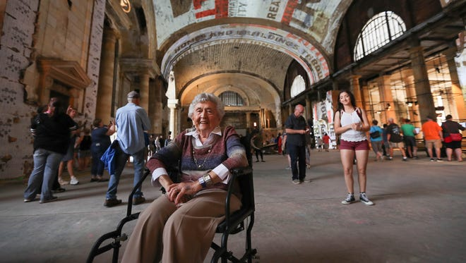 Lucy Tracz, 96, worked in the payroll department at the Michigan Central Station station in the mid 1940s, and is photographed in the lobby on Sunday, June 24, 2018.