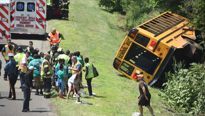 A bus carrying North Jersey children to Adventure Aquarium in Camden ran off the New Jersey Turnpike just south of Haddonfield-Berlin Road in Cherry Hill on Friday, June 29, 2018. Sixteen children received injuries that were not considered life-threatening.
