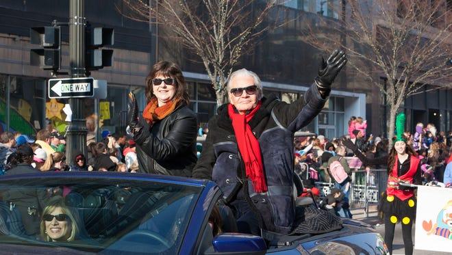 Art Van Elslander and Susan Goodell in the 2012 America's Thanksgiving Parade in Detroit.