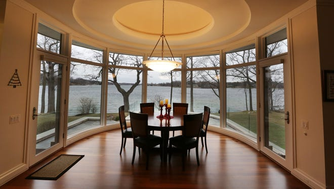 Breakfast room in this home set on an acre and a half on Upper Straits Lake in Orchard Lake.