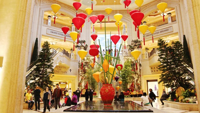 The Venetian and Palazzo resorts in Las Vegas are adorned with colorful lanterns for the Year of the Sheep.