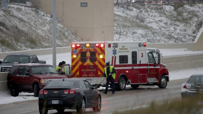 Traffic was backed up on northbound I-10 after an accident at the Evergreen and 10 Mile road exit in Southfield,