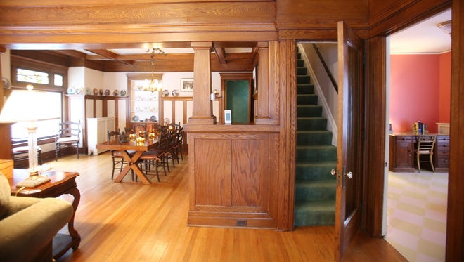 This is a look from the foyer of this Northville Arts and Crafts house built  of fieldstones in 1908.