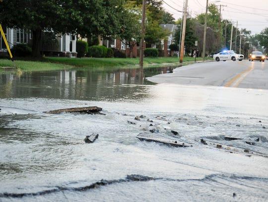 Water main break  at Weinbach and Bellemeade in Evansville,