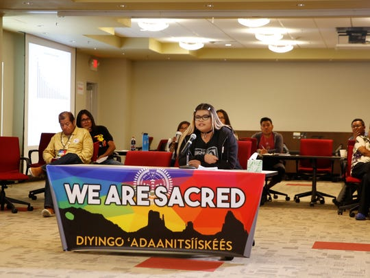 Dianna Mares talks about being a member of the LGBTQ community while attending high school in the Four Corners area during the LGBTQ Community Listening Session at the Diné Pride symposium on Friday in Tsé Bonito.