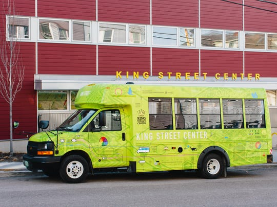 "The new King Street Center bus in Burlington replaces an older vehicle known as ""Clifford the Red Bus."""