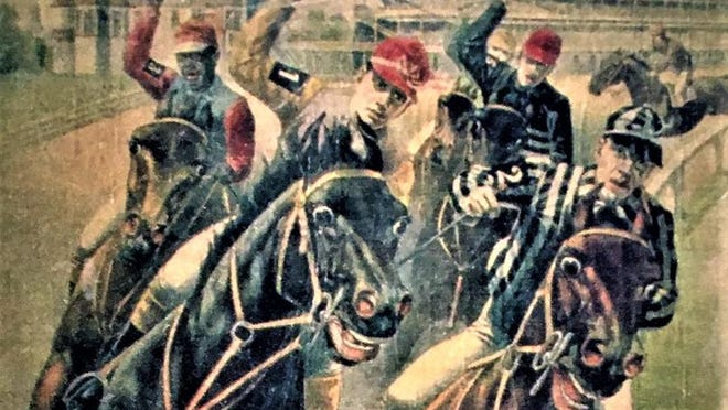 An old poster promoting the 1897 Kentucky Derby could be showing the previous year's winner, Willie Simms, the Black jockey riding up on the outside far left.