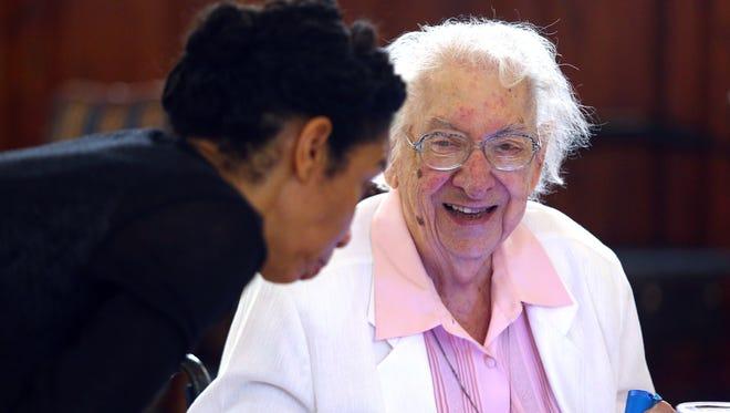 Sister Regina Rose Palkovics gets ready for lunch at The Villa at Florham Park, Sister Regina turned 105 today. June 7, 2018. Florham Park, NJ