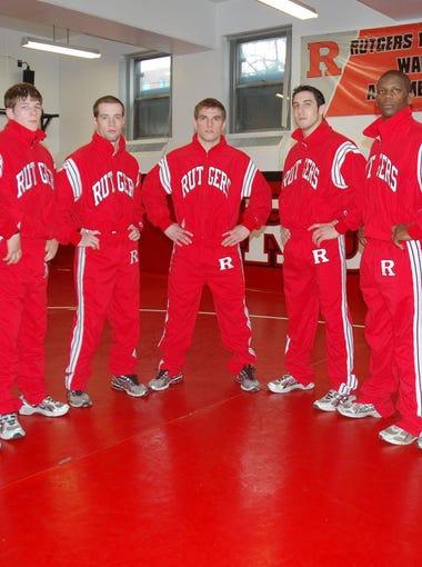 Rutgers wrestlers (l-r) Joey Langel, Billy Ashnault, Trevor Melde, Daryl Cocozzo, Daniel Rinaldi, Lamar Brown, Dominick Russo in March 2010.