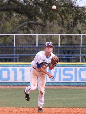 UWF's Tanner May fields the ball and throws to first base during Saturday's pair of games against Alabama-Huntsville. The Argos bounced back to win Sunday.