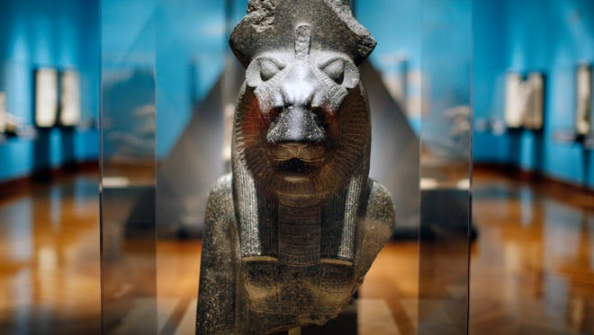 The Goddess Sakhmet form the New Kingdom Dynasty 18, reign of Amenhotep, III, circa 1390-1352 BCE from Thebes, Egypt is part of Cincinnati Art Museum presents Divine Felines: Cats of Ancient Egypt.