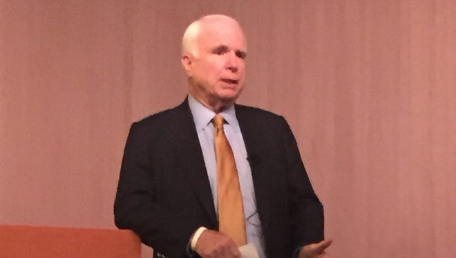 Sen. John McCain speaks at a Christians United for Israel town-hall meeting at Arizona State University on Thursday.