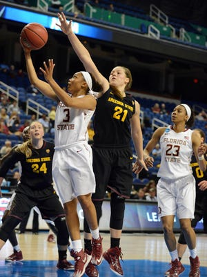 Sophie Brunner (21) and Kelsey Moos (24) are among four starters returning for ASU women's basketball. They are 52-16 in their Sun Devil careers.