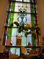 Stained glass at Tinkling Spring Presbyterian Church