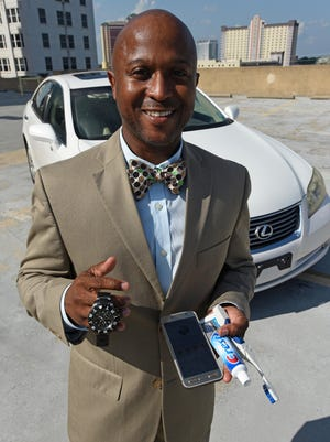 Jonathan Reynolds necessary luxuries consist of his Lexus E-750, Samsung Galaxy S7 Active. A Samsung S-Health application for keeping track of his fitness routine. A toothbrush and toothpaste that he keeps in his office desk and one of his favorite watches from his Invicta collection.