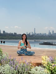 Maritza Dearing, yoga instructor, relaxes at SoJo Spa Club in Edgewater