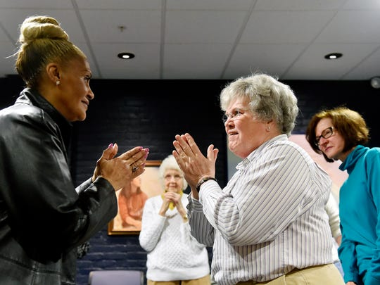 Catherine Palmisano, 65 of York, and Kathy Brunner, 71 of North York, make eye contact and clap their hands at the same time during an exercise at a StAGEs creative performing workshop for seniors Thursday, April 7, 2016, at DreamWrights Youth & Family Theatre in York. Improvisational techniques and participants' life experiences are incorporated to create theatrical pieces in the workshop, which meets twice a week for six weeks and is in its second season.
