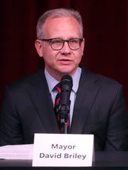 Mayor Briley speaks during a mayoral candidate forum hosted by The Tennessean and WSMV at the Nashville Public Library Downtown branch Wednesday May 2, 2018.