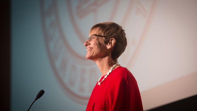 Cornell University President Elizabeth Garrett delivers the State of the University Address.