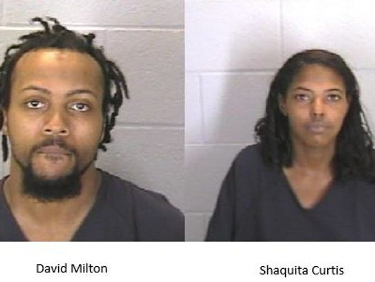 David Milton and Shaquita Curtis were arrested Monday.