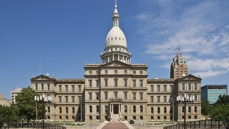 Exterior of Michigan State Capitol Building (west side).