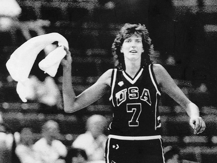 August 20, 1987 Anne Donovan cheering her team on