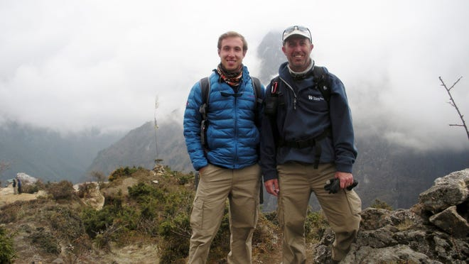 Newtown Village Councilman Joe Harten, right. and his son Graeme on the trail to Mount Everest base camp.