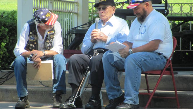 Patriot Guard Riders officers Dale Moore, left, and Kent Hardman, right interview World War II veteran Quentin Murdock about his war experiences and his perspectives on military service in this June 2015 file photo at Vernon Worthen Park. The park's gazebo includes a monument to war veterans, and will be the site of a Sunday tribute by the Interfaith Council to veterans and local law enforcement officers who put their lives on the line to defend the public.