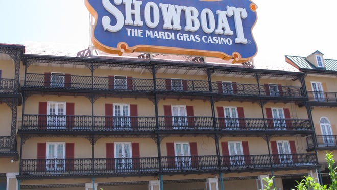 """This June 27, 2014 photo shows the Showboat Casino Hotel in Atlantic City shortly before it shut down. On Aug. 31, 2015 _ a year after the casino closed _ its current owner, Stockton University, said it is fielding """"several"""" offers for the building and hopes to have it sold soon. But it was not clear whether a new buyer would seek to reopen it as a casino, or use it for another purpose."""