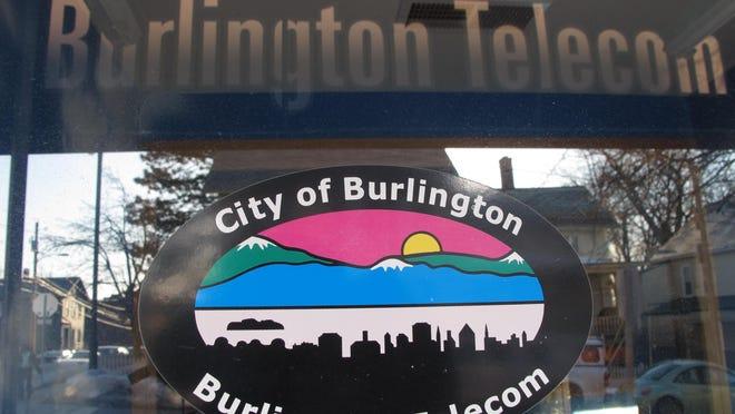 The front door at Burlington Telecom in Burlington.