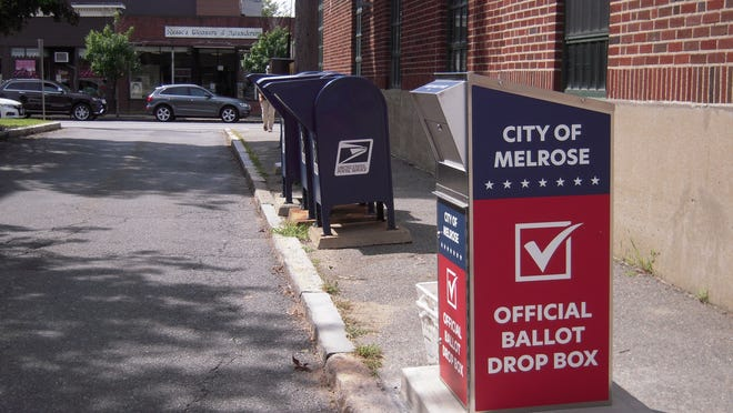 Melrose voters can drop their mail-in ballots in this dropbox, which can be found in the Post Office alley off of Essex Street between the three blue mailbox and the grey Melrose City box.