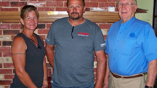 Pictured are Shelly Price, Eric Skinner and Exchange Club member Claude Moreland.