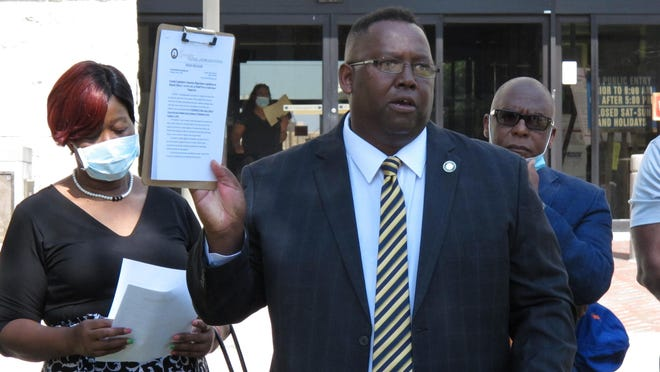 State Rep. Carl Gilliard addresses a news conference in Savannah, Ga., on Friday, June 5, 2020, calling for the legislature to repeal the state's 19th-century citizen arrest law. A Georgia prosecutor in April cited the 1863 law in a legal opinion that concluded the pursuit and fatal shooting of Ahmaud Arbery were justified. The Georgia Bureau of Investigation and a subsequent prosecutor who took over the case disagreed and charged three white men who chased Arbery with felony murder in his death on Feb. 23, 2020.