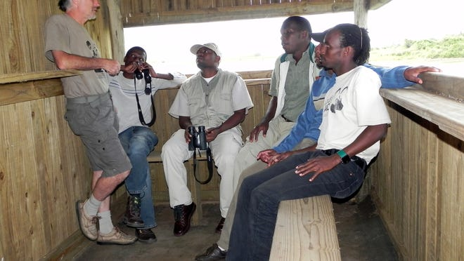 Bruce Lombardo trains guides to conduct the Children's Bush Camp program for the Wildlife ACT Fund in South Africa.