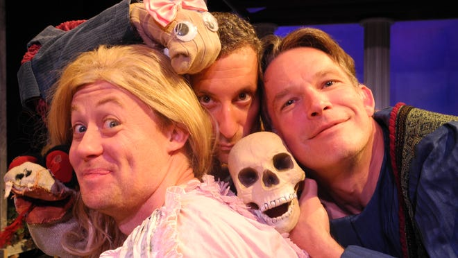 """Justin McCombs, Jeremy Dubin and Nick Rose star in Cincinnati Shakespeare Company's """"The Complete Works of William Shakespeare (Abridged),"""" which runs July 25-Aug. 16."""