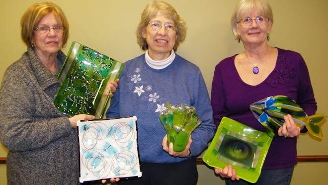 Left to right: Fran Jackson, Elaine Bast, and Jill Groves created a friendship when they began creating fused glass art.