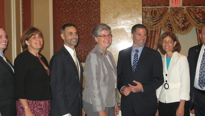 From left, Denise VanBuren, vice president of public relations at Central Hudson Gas & Electric Corp., Art Nizza, CEO of MidHudson Regional Hospital, Mary Kay Vrba, executive director of Dutchess County Tourism, County Executive Marc Molinaro and Patricia Prunty, president of the board of trustees of the Dutchess County Historical Society