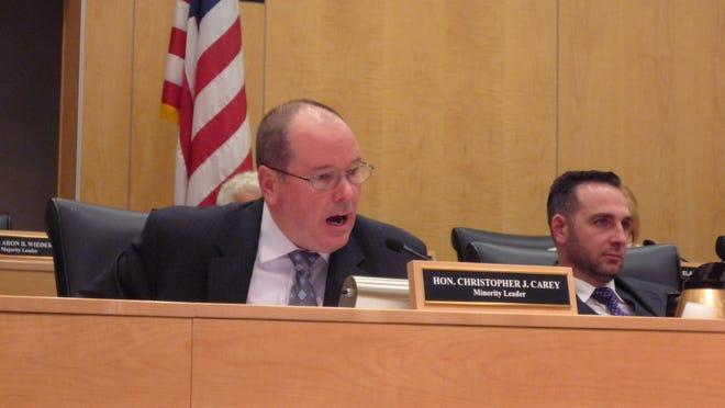 Rockland County Legislator Chris Carey, R-Bardonia, speaks against overriding County Executive Ed Day's vetoes to the Rockland County Legislature's budget revisions.