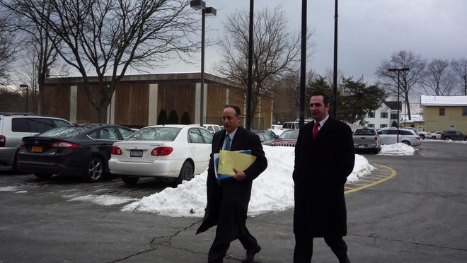 Rockland County Legislator Frank Sparaco, right, along with his attorney Peter Tilem, arrive at the Clarkstown Justice Court on Friday morning.