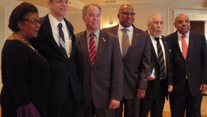 Seven people were inducted into the Rockland County Civil and Human Rights Hall of Fame during Wednesday's celebration luncheon at Nyack Seaport. From left, inductees Judith Johnson and Steven White; County Executive Ed Day; inductees Earl Miller and Dwaine Perry; and Human Rights Commissioner Ram Nagubandi.
