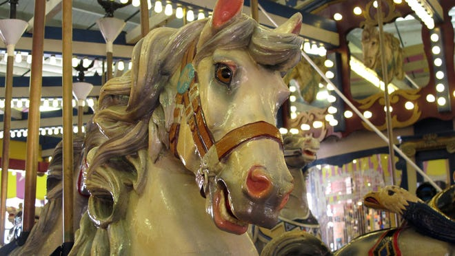 The Seaside Heights New Jersey, carousel has 58 hand-painted animals.