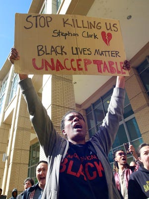 Demonstrators gathered outside Sacramento City Hall to protest the shooting of Stephon Alonzo Clark, by a pair of Sacramento Police officers, during a demonstration, Thursday, March 22, 2018, in Sacramento. Joe Mathews wonders if Californians will violently splinter if the American empire crumbles, as he suspects it will.