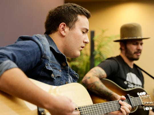 Gabe Broussard, left, and Lane Mack perform at an Acadiana Roots show hosted by The Daily Advertiserin Lafayette Nov. 30, 2016. Both were contestants on The Voice this summer.